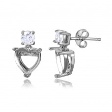 Sterling Silver Rhodium Plated Personalized Mounting Heart With CZ Earring - BGE00477
