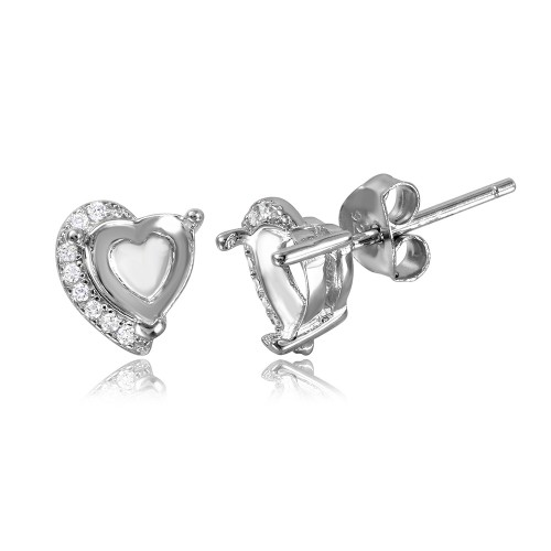 Wholesale Sterling Silver 925 Rhodium Plated Personalized Heart Mounting with CZ - BGE00478