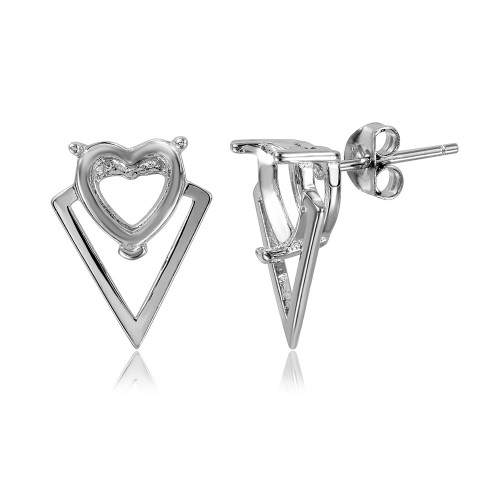 Wholesale Sterling Silver 925 Rhodium Plated Personalized Triangle Shape Heart Mounting Earrings - BGE00479