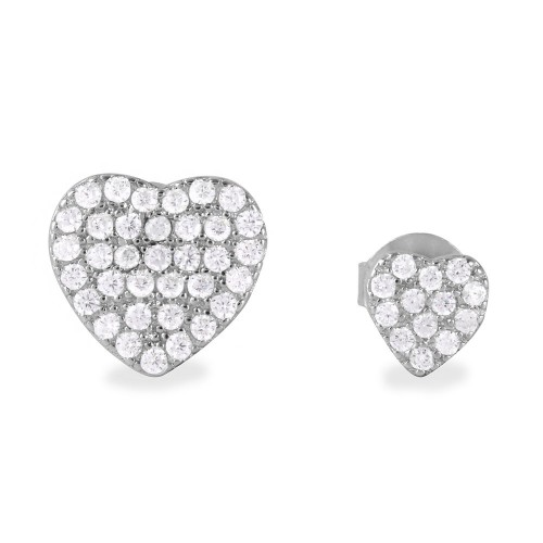 Wholesale Sterling Silver 925 Rhodium Plated CZ Encrusted Small and Large Heart Earrings - BGE00482