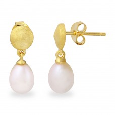 Wholesale Sterling Silver 925 Matte Finish Gold Plated Disc with Hanging Fresh Water Pearl Earrings - BGE00483