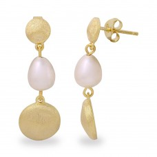 Wholesale Sterling Silver 925 Gold Plated Disc with Hanging Fresh Water Pearl Earrings - BGE00484