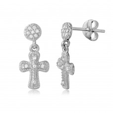 Wholesale Sterling Silver 925 Rhodium Plated Hanging Cross CZ Earrings - BGE00486
