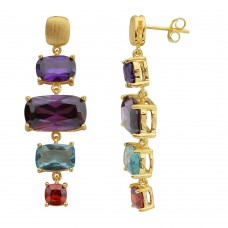 Wholesale Sterling Silver 925 Gold Plated Multi Color CZ Drop Earrings - BGE00487