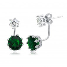 Wholesale Sterling Silver 925 Rhodium Plated Clear CZ Stud Earring with Hanging Green CZ Backings - BGE00488GRN