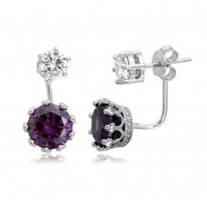 Wholesale Sterling Silver 925 Rhodium Plated Clear CZ Stud Earring with Hanging Purple CZ Backing - BGE00488PUR
