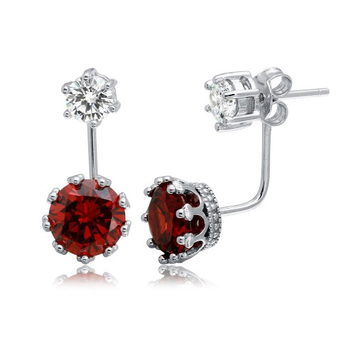 Wholesale Sterling Silver 925 Rhodium Plated Clear CZ Stud Earring with Hanging Red CZ Backing - BGE00488RED