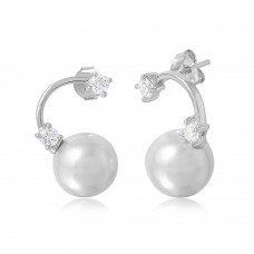 Wholesale Sterling Silver 925 Rhodium Plated Hanging Synthetic Pearl Earring with Cubic Zirconia Stones - BGE00489