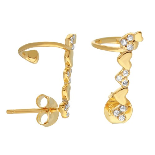 Wholesale Sterling Silver 925 Gold Plated Climbing Heart Earrings with CZ Stones - BGE00490