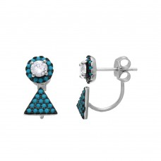 Sterling Silver Rhodium Plated Turquoise Stones Round Earrings With Hanging Triangle Accent - BGE00494