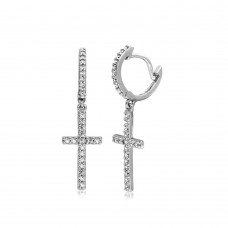 Wholesale Sterling Silver 925 Rhodium Plated Hanging CZ Cross Huggie Earrings - BGE00495