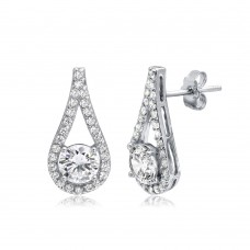 Wholesale Sterling Silver 925 Rhodium Plated CZ Encrusted Open Teardrop Earrings - BGE00496