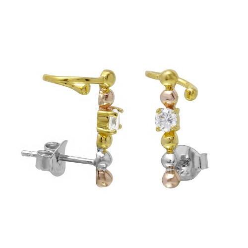 Wholesale Sterling Silver 925 3 Toned Beaded CZ Center Climbing Earrings - BGE00497