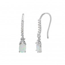 Wholesale Sterling Silver 925 Rhodium Plated Dangling Oval Opal with CZ Earrings - BGE00499