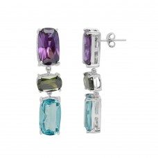 Wholesale Sterling Silver 925 Rhodium Plated Multi Color CZ Drop Earrings - BGE00500