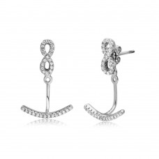 Sterling Silver Rhodium Plated CZ Infinity Earring With Hanging Backing - BGE00502