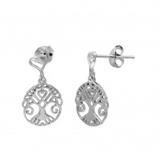 Wholesale Sterling Silver 925 Rhodium Plated Tree Of Life Outline Disc Dangling Earrings - BGE00505