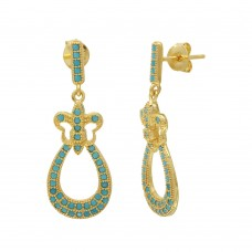 Wholesale Sterling Silver 925 Gold Plated Dangling  Filigree Turquoise Stone Earrings - BGE00506GP
