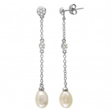 Wholesale Sterling Silver 925 Rhodium Plated Dangling CZ and Fresh Water Pearl Earrings - BGE00507