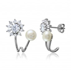 Wholesale Sterling Silver 925 Rhodium Plated Flower CZ Fresh Water Pearl Earrings - BGE00508