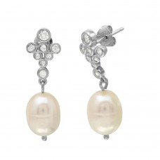 Wholesale Sterling Silver 925 Rhodium Plated Bubble Stud Earrings with Dangling Fresh Water Pearls - BGE00512