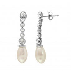 Wholesale Sterling Silver 925 Rhodium Plated Bubble Dangling Earrings with Fresh Water Pearl - BGE00513