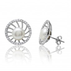 Wholesale Sterling Silver 925 Rhodium Plated Fresh Water Pearl Center CZ Border Stud Earrings - BGE00514