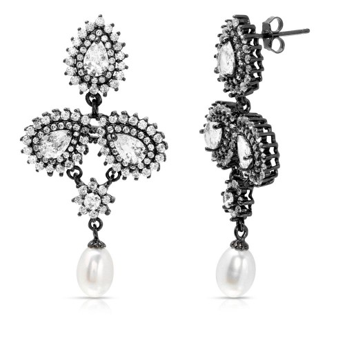 Wholesale Sterling Silver 925 Black Rhodium Plated Dangling 3 Halo Pearl CZ and Fresh Water Pearl Earrings - BGE00515