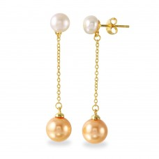 Wholesale Sterling Silver 925 Gold Plated Fresh Water Pearl with Dangling Synthetic Pearl Earrings - BGE00524