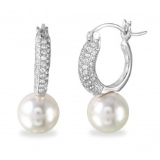 Wholesale Sterling Silver 925 Rhodium Plated Dropped Synthetic Pearl Huggie Earrings with CZ - BGE00526