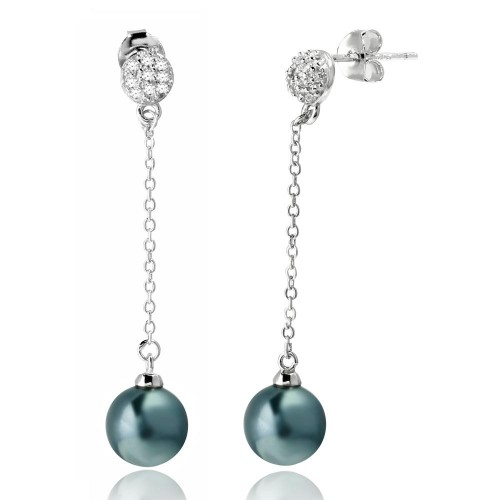 Wholesale Sterling Silver 925 Rhodium Plated Half Ball CZ with Dangling Synthetic Grey Pearls - BGE00527