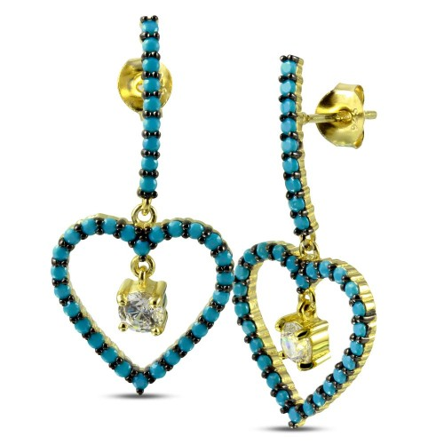 Wholesale Sterling Silver 925 Gold and Black Rhodium Plated Curved Bar and Dangling Open Heart with Turquoise Beads and CZ - BGE00528