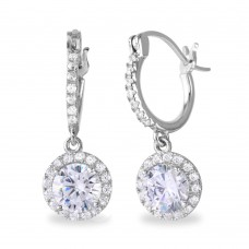 Sterling Silver Rhodium Plated Dangling Micro Pave Round CZ Huggie Earrings - BGE00529