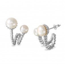 Sterling Silver Rhodium Plated 2 Folded Fresh Water Pearl Earrings - BGE00536