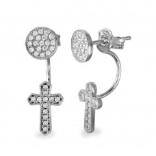 Wholesale Sterling Silver 925 Rhodium Plated Circle and Dropped Cross with Round CZ Earrings - BGE00537