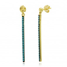 Wholesale Sterling Silver 925 Gold Plated Dangling Bar with Turquoise Beads - BGE00542