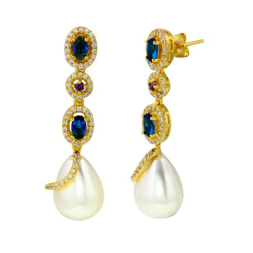 Wholesale Sterling Silver 925 Gold Plated Multi Color CZ Dangling Earring with CZ Wrapped Synthetic Pearls - BGE00544
