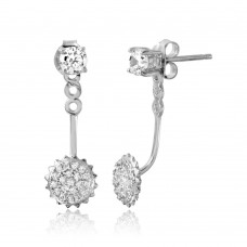 Sterling Silver Rhodium Plated Hanging Sunflower CZ Earring - BGE00547