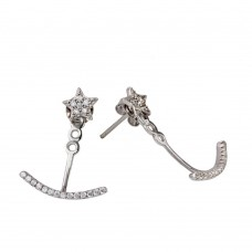 Sterling Silver Rhodium Plated Star with Half CZ Crescent Earring - BGE00548