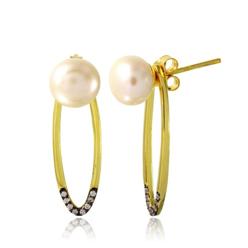 Wholesale Sterling Silver 925 Gold Plated Fresh Water Pearl with Hanging Open Oval CZ - BGE00549