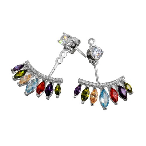 Wholesale Sterling Silver 925 Rhodium Plated Multi Color CZ Hanging Stud Earrings - BGE00551