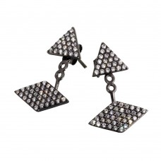 Sterling Silver Rhodium Plated CZ Encrusted Multi Shape Hanging Stud Earrings - BGE00552