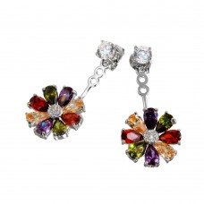Sterling Silver Rhodium Plated Multi Color Sun Flower Hanging Stud Earrings - BGE00553
