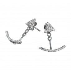 Wholesale Sterling Silver 925 Rhodium Plated Curve CZ Hanging Stud Earrings - BGE00554