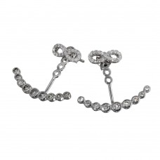 Wholesale Sterling Silver 925 Rhodium Plated Curve Bubble CZ Hanging Infinity Stud Earrings - BGE00555