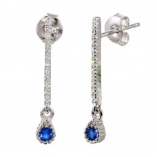 Sterling Silver Rhodium Plated Blue CZ Bar Drop Earrings - BGE00557BLU