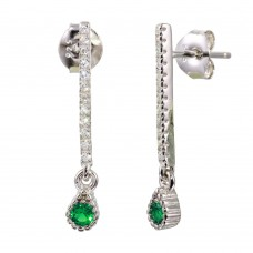 Sterling Silver Rhodium Plated Green CZ Bar Drop Earrings - BGE00557GRN