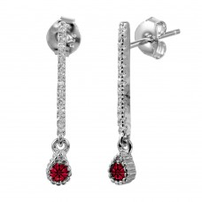 Wholesale Sterling Silver 925 Rhodium Plated Red CZ Bar Drop Earrings - BGE00557RED