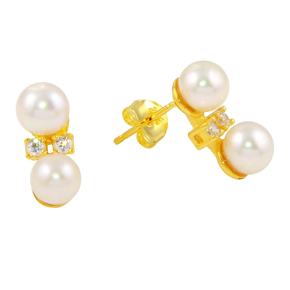 Wholesale Sterling Silver 925 Gold Plated Freshwater Pearl Earring with CZ - BGE00559