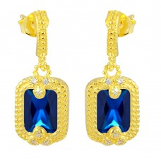 Wholesale Sterling Silver 925 Gold Plated Blue Rectangle Dangling Earrings - BGE00561BLU